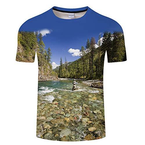 Pescado eléctrico para Hombre Viejo Hombre Captura patrón de Pescado de Manga Corta Camiseta Impresa para Hombre TXKH447 6XL