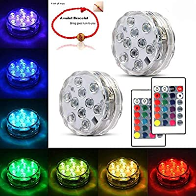 Underwater Submersible LED Lights Waterproof Multi Color Battery Operated Remote Control Wireless LED Lights for Hot Tub,Pond,Pool,Fountain,Waterfall,Aquarium,Party,Vase Base,Christmas,IP68 2pack