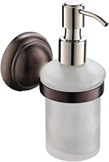 CRW Wall Soap Dispenser Bathroom Oil Rubbed Bronze Liquid Lotion Hand Soap Holder with Removable Glass Bottle Stainless Steel Chrome Pump for Countertop Kitchen Sink Vanity, 8 Oz, Solid Brass