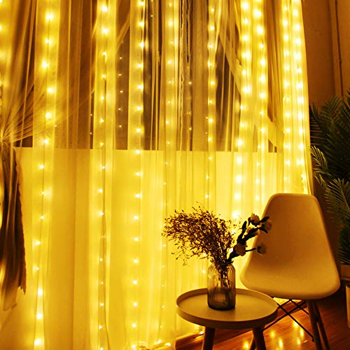 MoKo LED Curtain String Lights, Outdoor Waterproof Lights Remote Control 8 Lighting Modes with AC Power Adapter for Bedroom Living Room Party Wedding Decoration, 300PCS LED - Warm White