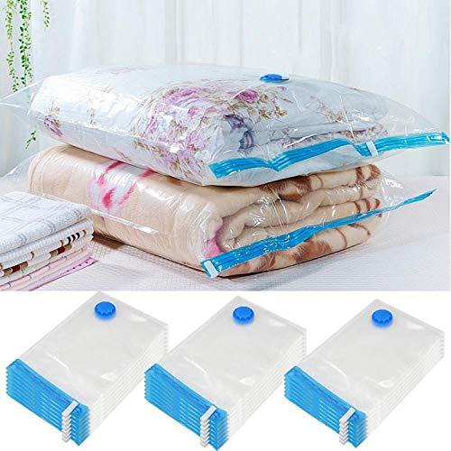 Yaheetech 20 TLG Vakuumbeutel Aufbewahrungsbeutel Kleiderbeutel Kompressionsbeutel für Kleidung verschiedenen 3 Größen