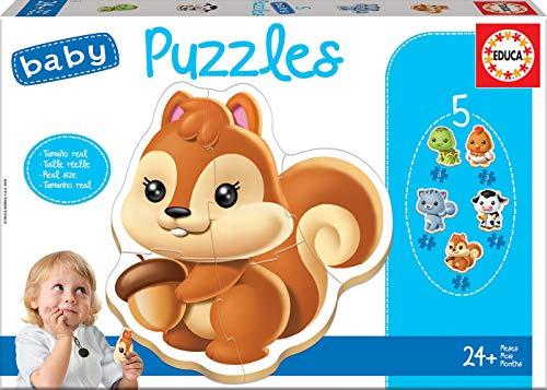 Educa - Baby Puzzles, puzzle infantil Animales, 5 puzzles pr