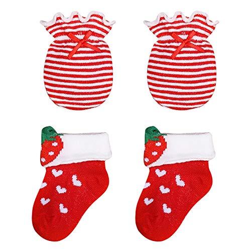 DaMohony Juego de guantes de algodón para bebé, suaves, transpirables y cómodas, sin arañazos, calcetines para niños de 0 a 12 meses