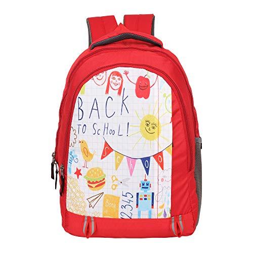 DUSSLE DORF Kid's Polyester 15 Liters,Casual Water Resistant Nursery/Kids/Student/for Children's/Boys/Girls Backpack, School Bag (Red)