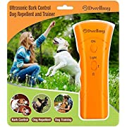 Boss Pet Products Dog Training Barking Control Device, Dog Training for Home and The Outdoors, Dog Barking Control and Trainer with LED Flashlight, Orange