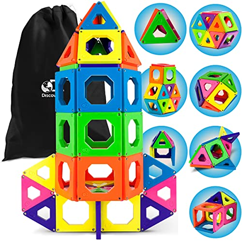 Discovery Kids 50-Piece Magnetic Building Tiles Construction Set in 6 Colors with Storage Bag