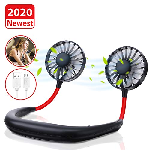 ghfcffdghrdshdfh Sports Fan Neck Ring Hanging Neck Lazy USB Charging Fans Outdoor Black