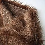 Calidad Tela de piel sintética tela de felpa material de piel sintética de pelo largo tela mullida para disfraces, alfombras de moda, accesorios, fondos para decoración de sillas d(Color:marrón)