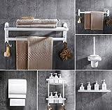 Nordic Space - Toallero plegable de aluminio para baño, color blanco