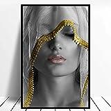 BGFDV Velo de Maquillaje Dorado Moderno Lienzo para Mujer murales nórdicos murales de Pared para Sala de Estar decoración del hogar