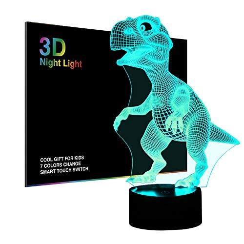 Salandens Luces nocturnas 3D para niños, lámpara de noche, dinosaurio de juguete para niños, 7 ledes, colores cambiantes, carga USB, mesa, escritorio, decoración de recámara, ideas de regalo de cumpleaños, Navidad, para bebés amigos