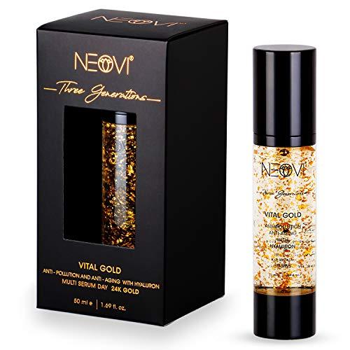 NEOVI VITAL GOLD 50ml | Hyaluronsäure Serum mit 24K Gold | HYALURON Anti Aging & Anti Falten | Vitamin A, B, C | Feuchtigkeitscreme | Derma Test sehr Gut