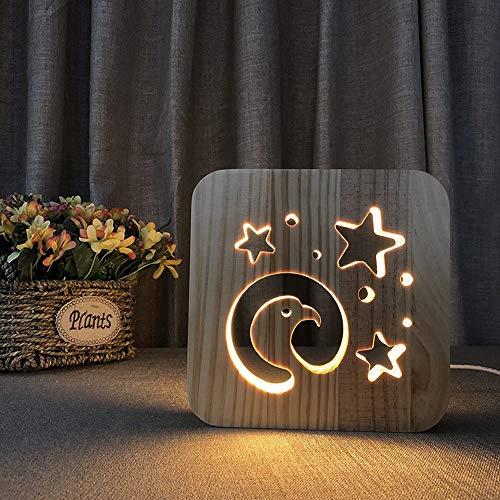 FAGavin Abstracto cabeza de águila madera 3D lámpara de mesa decorativa LED noche luz creativa USB dormitorio habitación infantil cumpleaños 19 * 19 cm escritorio