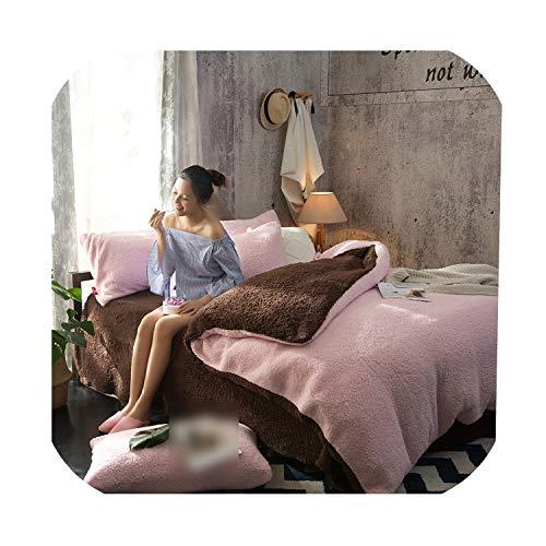 Fleece Bedding Set New Thicken Duvet Cover Set Velvet Bedcloth Green Bed Cover Flat Sheet Pillowcase,Sandred Coffee,Queen,Flat Bed Sheet