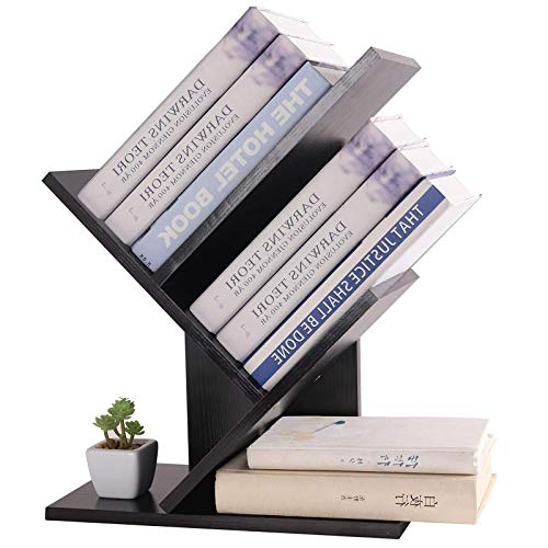 YCOCO Desktop Bookshelf Organizer,Office Supplies Desk Organizer,Tree Wooden Storage Shelf,Countertop Bookcase Wooden Display Rack,Black