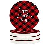 Posavasos de coche para portavasos, juego de 4, cita feliz día de San Valentín, 6,5 cm, posavasos de cerámica absorbente, accesorios de coche para mujeres y hombres, color rojo y negro