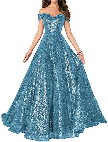 HUINI Damen Elegant Ballkleid Pailletten Lang Abendkleid für Hochzeit Standesamt Brautkleider Off-Schulter Promkleider Blau 50
