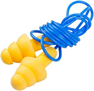 3 Pairs Yellow Christmas Tree Style Ear Plugs Blue Plastic String Strap Lines Sleeping Study Shot Block Out The Noise Sound Reusable Soft Earplugs for Children Adult