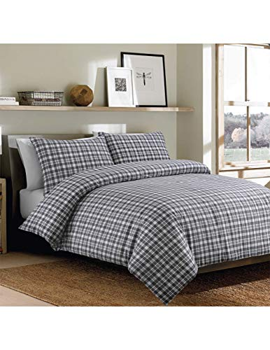 Sleepdown Bonton Flannel Grey Plaid Soft Duvet Cover Quilt And Bedding Set With Pillowcases - Double (200cm x 200cm)