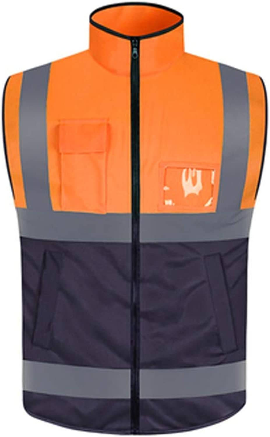 YJLGRYF Two Tone Safety Vest Reflective with Pockets and Zipper for Men and Women   High Visibility Vest with Reflective Stripes Yellow Black High Visible Vest with Reflective Stickers