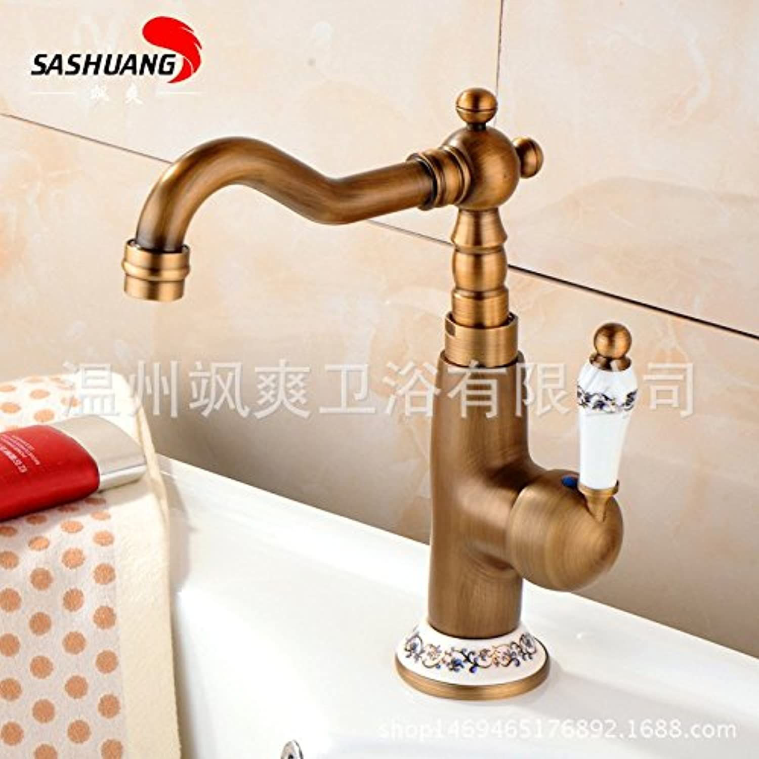 SADASD European Style Bathroom Basin Faucet Copper Antique bluee and White Porcelain Washbasin Sink Taps Ceramic Valve Single Hole Single Handle Hot and Cold Mixer Tap With G1 2 Hose