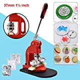 Red Button Maker Machine 37mm 1½ inch Button Badge Maker Pins Punch Press Machine Aluminum Frame 300pcs Free Button Parts + Circle Cutter (37mm 1½ inch) (Renewed)