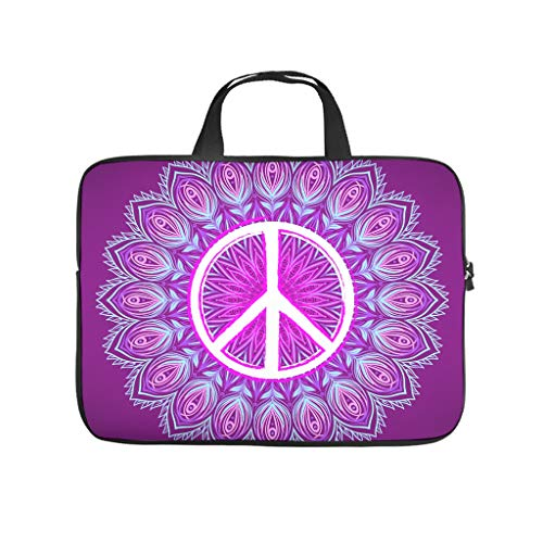 XINGYUE Peace Love Mandala Purple Tablet Bag Personalized Pattern Notebook Sleeve Portable Neoprene Tablet Carrying Case for Wife Husband White 17inch