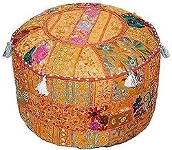 Aakriti Gallery Indiase poef voetenbank etnische geborduurde poef cover, Indiase katoen ronde poef Ottomaanse poef cover k...