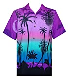Hawaiian Shirts for Men 42 Tropical Palm Trees Print Aloha Holiday Beach wear Purple