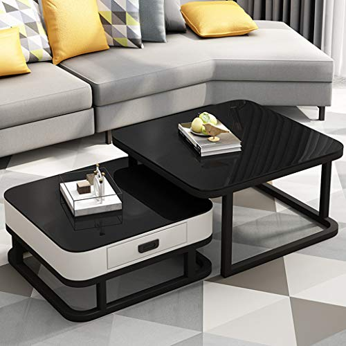 Living Room Nesting Tables Coffee Tables with Drawer Storage Couch Stacking Tables Black Tempered Glass/Black Frame,60cm / 70cmx45cm