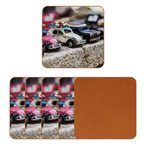 Posavasos de cuero para bebidas, diseño de autos, cuadrados, para proteger muebles, resistente al calor, decoración de bar, juego de 6