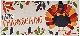 Evergreen Thanksgiving Turkey Sassafrass Decorative Mat Insert, 10 x 22 inches
