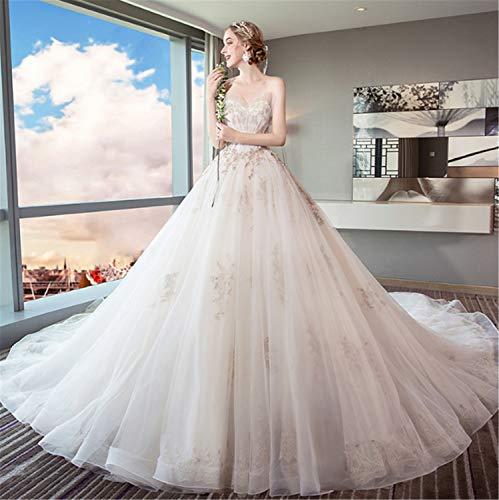 Elegance-Z bruidsjurk, dames rugelvrije bruidsjurk met mouwen Perfect Princess sleep, grote lange sleepende kanten tule wit