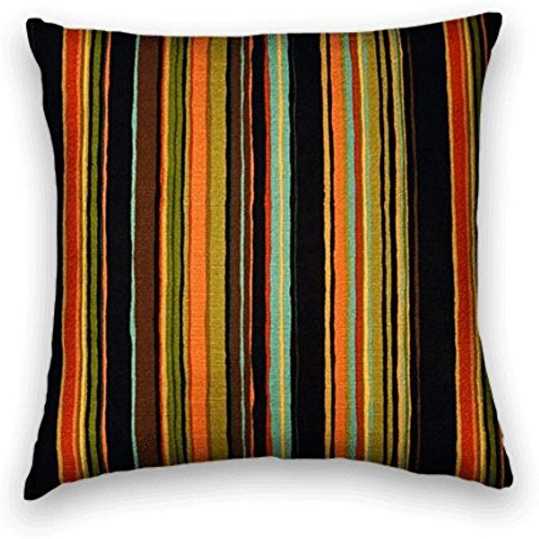 Black orange Striped Decorative Throw Pillow