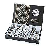 Jelly Comb Besteck Set aus Edelstahl, 30-teiliges Essbesteck als Geschenkbox inkl. Messer, Gabel, Kuchengabel, Löffel, Teelöffel für 6 Personen, Silber