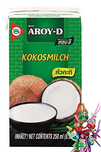 [ 36x 250ml ] AROY-D Kokosmilch Kokosnussmilch Cocosmilch / Coconut Milk + ein kleines Glückspüppchen - Holzpüppchen