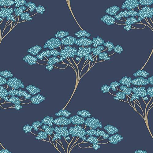NuWallpaper NUS3147 Blue Ficus Peel & Stick Peel and Stick Wallpaper 18' All Gold Long Stem
