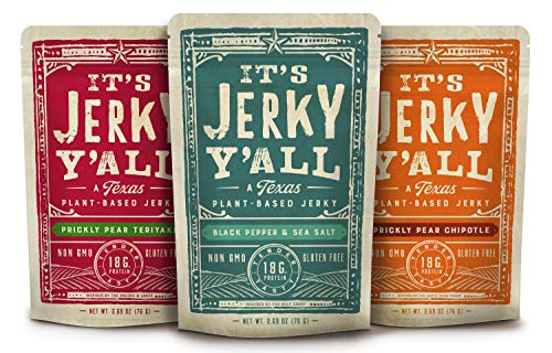 Vegan Jerky SEA SALT AND PEPPER, TERIYAKI, CHIPOTLE - Beyond Tender and Tasty Vegan Snacks - Non-GMO, Gluten-Free, Vegetarian, Kosher, Whole30 (3-Pack)
