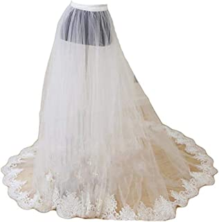 Simlehouse Detachable Bridal Skirt Wedding Overskirt 2 Layers Removable Tulle Skirt with Lace Appliques Edge