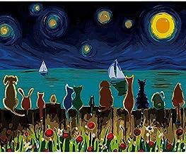mlpnko Étoile Lune Nuit Animal Bricolage Peinture numérique Art Mural Toile Peinture..
