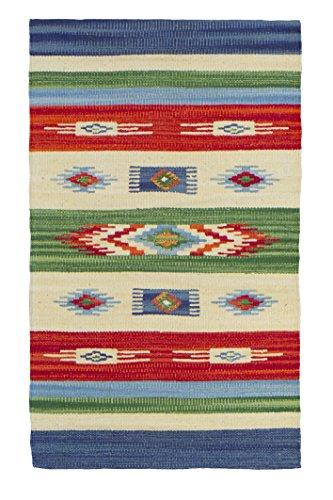 Jute & Co. Kilim Tappeto, Passatoia in Cotone di Alta qualità Tessuto a Mano, Multicolore, 55 x 90 cm