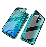 Gypsophilaa Suitable for Xiaomi Redmi Note 8 Mobile Phone Case, Magnetic adsorption Box Metal Frame Tempered Glass Back Cover with Built-in Magnet Cover [Support Wireless Charging] de Golpes