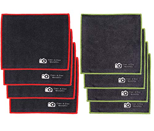 Clean & Clear Microfiber Cloth, Extra Large [8 Pack] Ultra Premium Quality Lens Microfiber Cleaning Cloth - Microfiber Cloth for Camera Lens, Glasses, Screens, and All Lens.