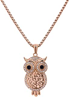 Bevilles Rose Stainless Steel Crystal Owl Necklace Pendant