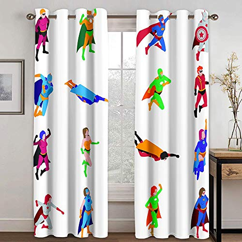 SWZHL Eyelet Blackout,Curtain Window Curtains 100% Polyester Thermal Insulated Super Soft Solid,Anime Drawing People Home Living Room Bedroom Decoration-280x250cm