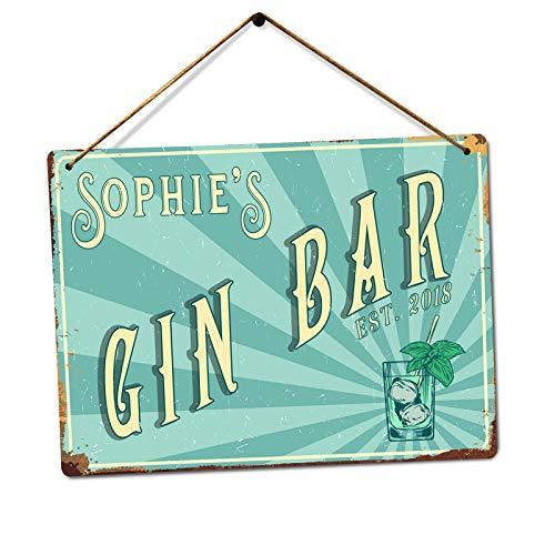 Personalised Retro Gin Bar - Custom Name – Medium Twine | Printed Metal Wall Sign Plaque