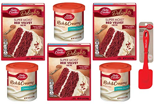 Betty Crocker Delights Super Moist Red Velvet Cream Cheese Bundle Includes Cake Mix (3 Boxes), Frosting (3 Tubs) and Silicone Spatula
