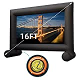 HHP 16Ft Inflatable Outdoor Projector Movie Screen - Supports Front and Rear Projection- Blow up Mega Movie Projector Screen with100W Built-in Fan - Easy to Set Up