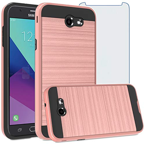 Asuwish Compatible with Samsung Galaxy J3 Luna Pro J 3 Prime 2017 Emerge 3J Eclipse Mission Case Tempered Glass Screen Protector Cover and Slim Shockproof Cell Phone for Glaxay S327VL Women Rose Gold