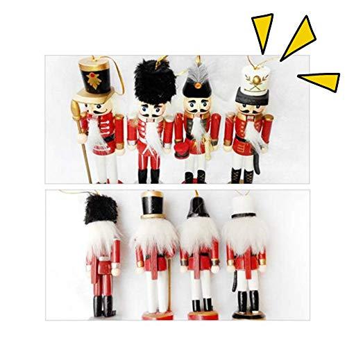 SOWLFE 15 cm juguete 4 piezas estilo nórdico madera pequeño cascanueces soldado forma cascanueces cascanueces colgante – decoraciones de Navidad cascanueces de madera soldado títere